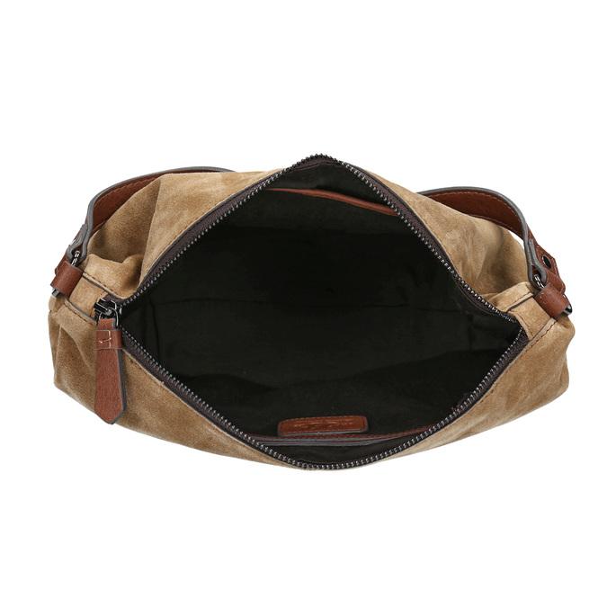 Leder-Handtasche mit Steppung bata, Braun, 963-3130 - 15