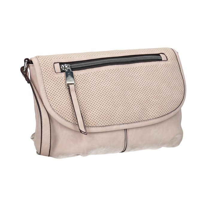 Rosa Crossbody-Handtasche mit perforierter Klappe bata, Rosa, 961-5709 - 13