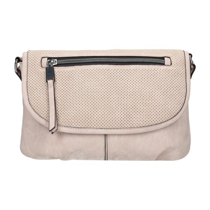 Rosa Crossbody-Handtasche mit perforierter Klappe bata, Rosa, 961-5709 - 26