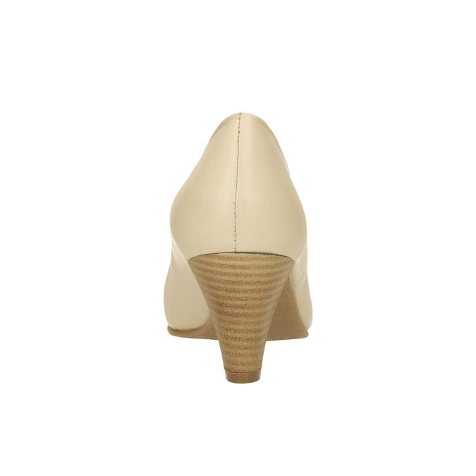Lederpumps mit abgeschrägtem Absatz bata, Beige, 624-1600 - 17