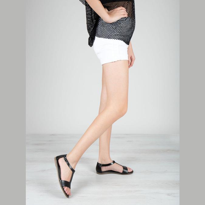Schwarze Sandalen aus Leder bata, Schwarz, 564-6600 - 18