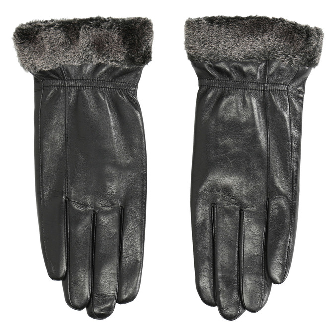 Damen-Lederhandschuhe mit Kunstfell bata, Schwarz, 904-6112 - 26