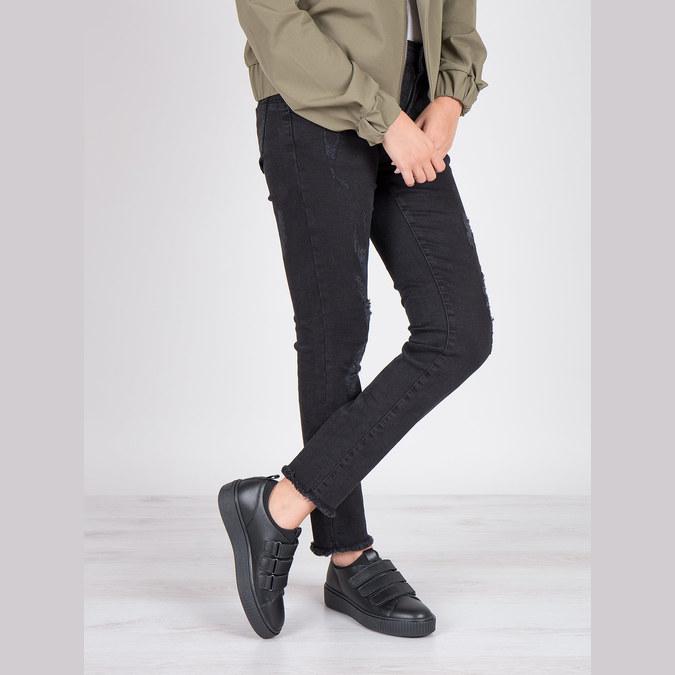 Schwarze Leder-Sneakers mit Klettverschlüssen bata, Schwarz, 526-6646 - 19