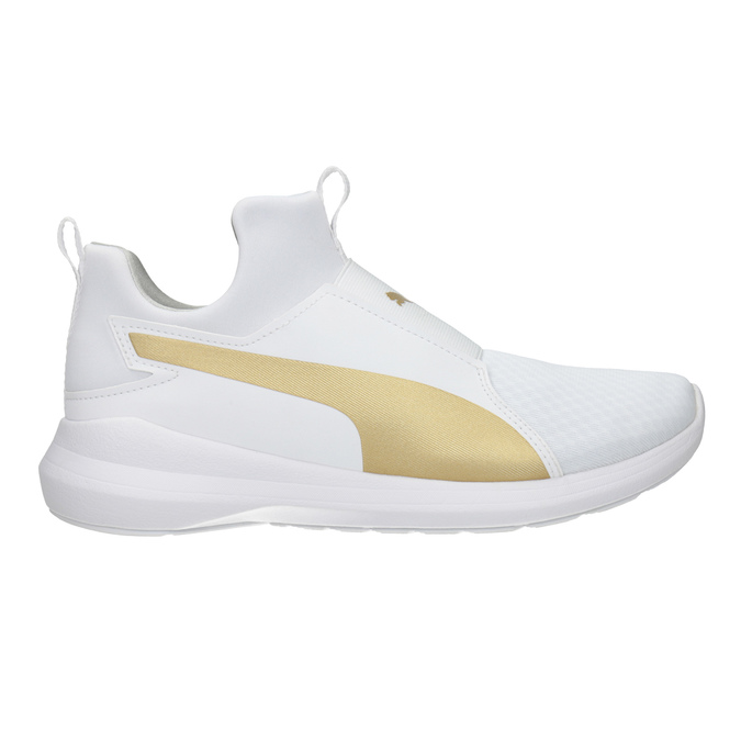 Weisse Damen-Sneakers mit goldenem Streifen puma, Weiss, 509-1200 - 26