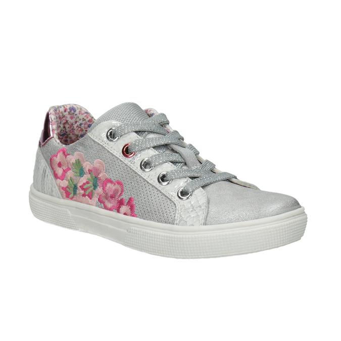 Mädchen-Sneakers mit Stickmotiv mini-b, Silber , 321-1381 - 13