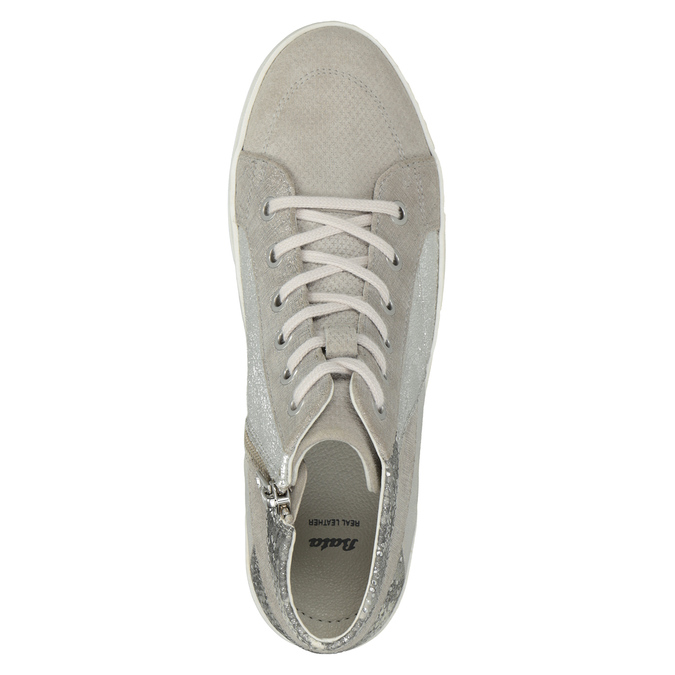 Knöchelhohe Leder-Sneakers bata, Grau, 546-2608 - 15