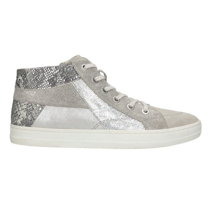 Knöchelhohe Leder-Sneakers bata, Grau, 546-2608 - 26