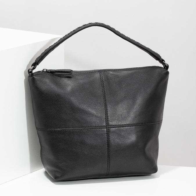 Lederhandtasche mit abnehmbarem Gurt, Schwarz, 964-6233 - 17